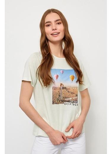 Setre Yavru Ağzı Kısa Kol Baskılı T-Shirt Yeşil